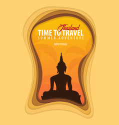 Thailand banner time to travel paper cut vector