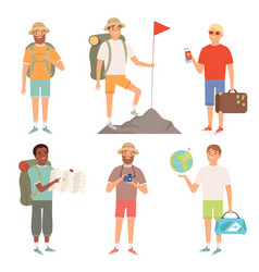 tourist outdoor characters travellers hiking vector image