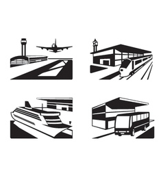 Transport stations with vehicles in perspective vector image