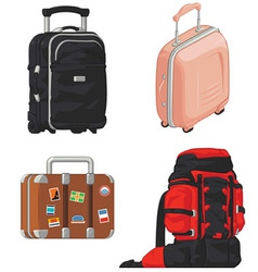 Travel Suitcase and Mountain Bag vector image