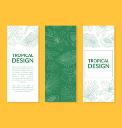 tropical design banner template with hand drawn vector image