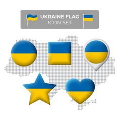 Ukraine flag icons set in shape square vector