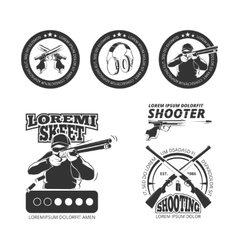 Vintage gun pistol club labels emblems vector image