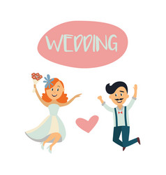 Wedding card with funny couple bride and groom vector