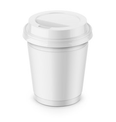 white paper coffee cup with lid template vector image
