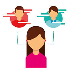 woman user avatar people social media connected vector image