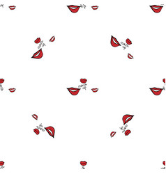 women make up beauty fashion seamless pattern lips vector image