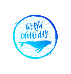 world oceans day emblem vector image
