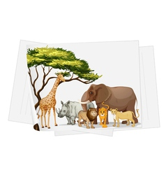 Animals in jungle on paper vector image vector image
