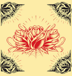 Roses and Frame Tattoo style design vector image vector image