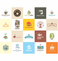 20 high quality coffee cafe tea shop logo pack vector image