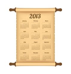2013 calendar on parchment roll vector image