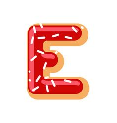 letter e donut font doughnut alphabet sweet vector image vector image