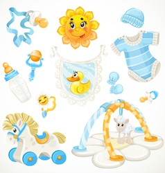 Set of blue baby toys objects clothes and things vector image