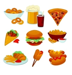Set of fast food meals Collection cartoon snack vector image