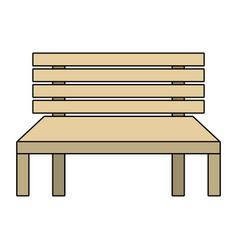 wooden bench street comfort decorative vector image