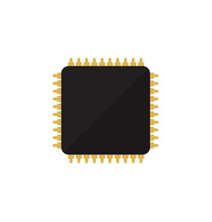 Isolated microprocessor flat icon cpu vector
