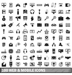 100 web and mobile icons set simple style vector image