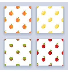 Fruit seamless pattern set icons flat design line vector image