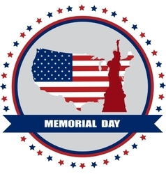 memorial day of America USA map with statue of vector image vector image