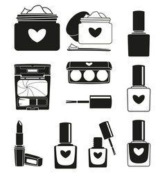 11 black and white make up silhouette elements vector image