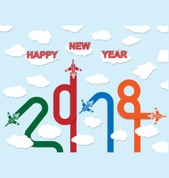 2018 happy new year plane vector image