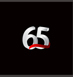 65 years anniversary celebration number black vector