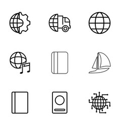 9 international icons vector image