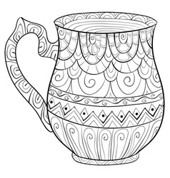 Adult coloring bookpage a cute jug image for vector