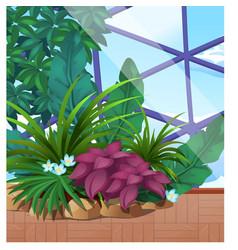 Artificial garden tropical plants under a vector