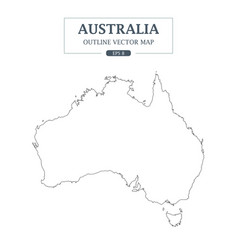 Australia map outline border on white background vector