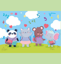 Back to school education cute animals students vector