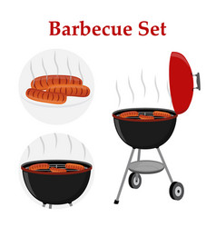 Barbecue set - grill station sausage fried meat vector