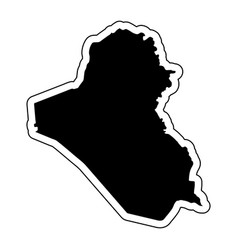 black silhouette of the country iraq with the vector image