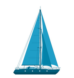 blue sailing yacht vector image
