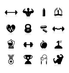 Bodybuilding Icons Black vector image