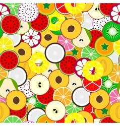 Bright fruit seamless background Tropical mix vector