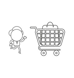 businessman character running to shopping bag vector image