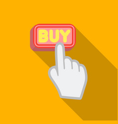 buying click icon in flat style isolated on white vector image
