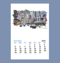 Calendar sheet layout december month 2021 year vector