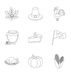 Canadian Thanksgiving Day set icons in outline vector