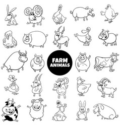 cartoon farm animal characters black and white set vector image