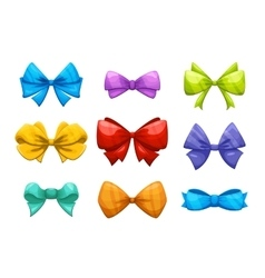 cartoon gift bow with ribbon set vector image