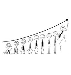 Cartoon group businessmen under growing vector