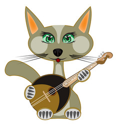 Cat plays on music instrument vector
