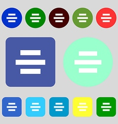 Center alignment icon sign 12 colored buttons Flat vector