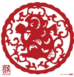 Chinese Year of the Monkey paper cut vector