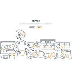Coffee - modern line design style web banner vector