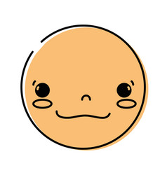 color kawaii head with cute happy face vector image