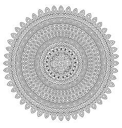 coloring book page with detailed round pattern vector image